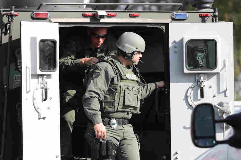Emergency responders respond to an active shooter.