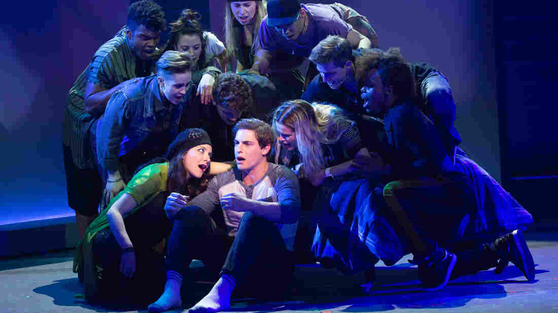 Derek Klena as Nick Healy and the chorus of American Repertory Theater's Jagged Little Pill.