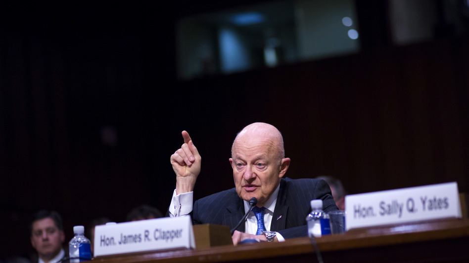 Former Director of National Intelligence James Clapper testifies about Russian interference in the 2016 election before a Senate Judiciary Committee subcommittee in May 2017. (Eric Thayer/Getty Images)