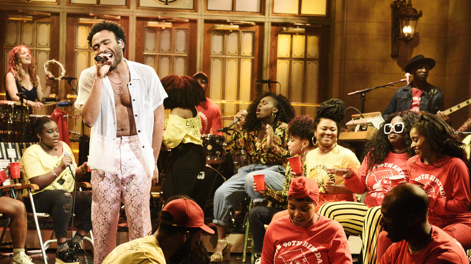 Donald Glover, performing as Childish Gambino on <em>Saturday Night Live </em>May 5, 2018.