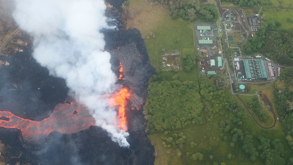Lava from the Kilauea volcano approaches the Puna Geothermal Venture plant on Hawaii