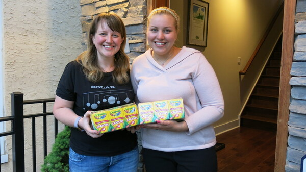 Johanna Humphrey, left, ended up with 24 boxes of crayons she didn