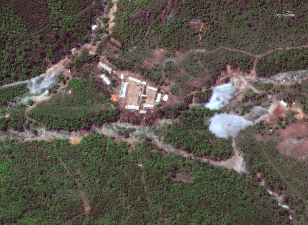 A satellite photo of the Punggye-ri nuclear test site in North Korea on Wednesday.