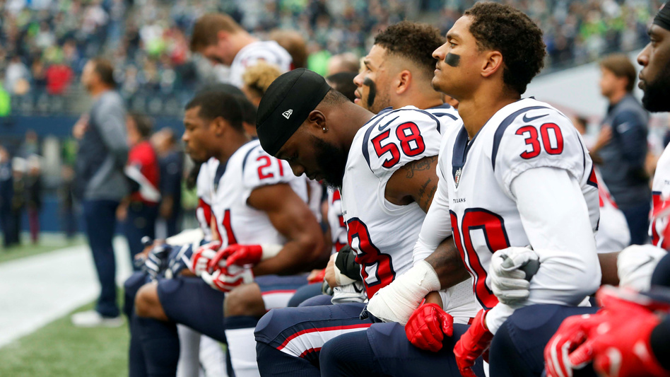 NFL players from the Houston Texans and other teams chose to take a knee during the national anthem before kickoffs in the 2017 season. (Joe Nicholson/USA TODAY Sports)