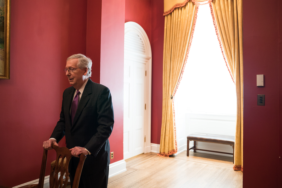 Senate Majority Leader Mitch McConnell, R-Ky., told NPR he believes lifetime federal judicial appointments are among the most important appointments the Senate is tasked with confirming. (Claire Harbage/NPR)