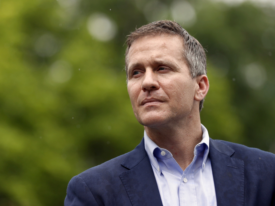 Eric Greitens, pictured earlier this month, announced his resignation Tuesday as governor of Missouri. The Republican, who is facing an extramarital affair scandal and allegations of campaign finance violations, will step down effective Friday. (Jeff Roberson/AP)