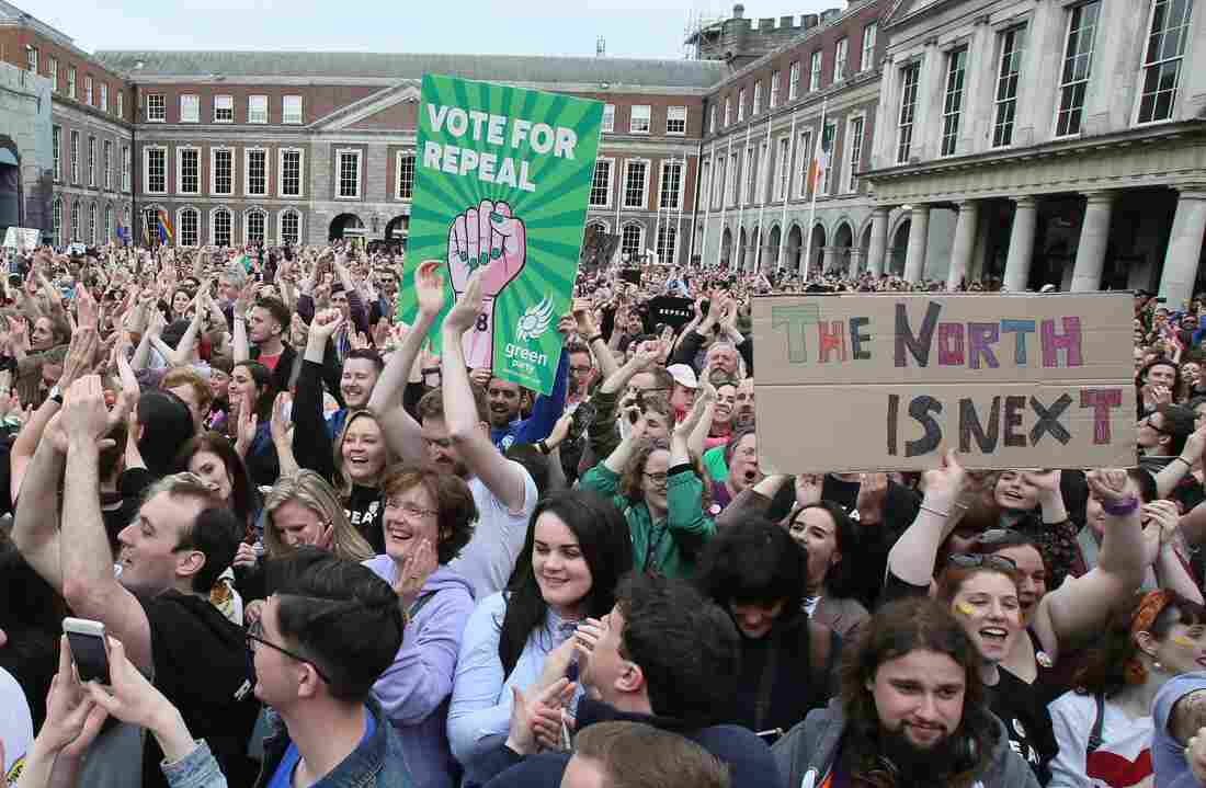 Pro-choice campaigners take 'abortion pills' outside Northern Ireland court