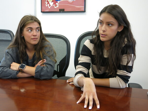 Wheat Ridge High School seniors Gabriella Cordova, right, and Teresa Kenison, are members of the Breathe Easy team, which educates students and adults in their Denver area school about tobacco and e-cigarette use.