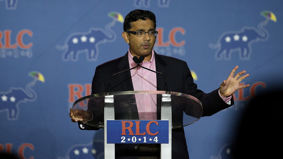 Conservative filmmaker and author Dinesh D'Souza speaks during the final day of the 2014 Republican Leadership Conference on May 31 of that year in New Orleans. Earlier that month, he had pleaded guilty to campaign finance fraud. (Justin Sullivan/Getty Images)
