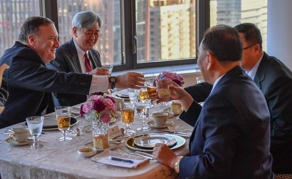 Secretary of State Mike Pompeo, the former CIA director, and CIA official Andrew Kim, the pair on the left, have dinner with North Korea's Kim Yong Chol, a former intelligence chief, in New York on Wednesday. Current and former spy chiefs are playing an unusually prominent role in arranging a proposed summit between President Trump and North Korean leader Kim Jong Un. (U.S. State Department)