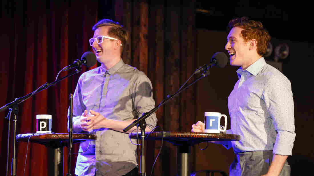 Kyle Jarrow and Ethan Slater appear on Ask Me Another at the Bell House in Brooklyn, New York.