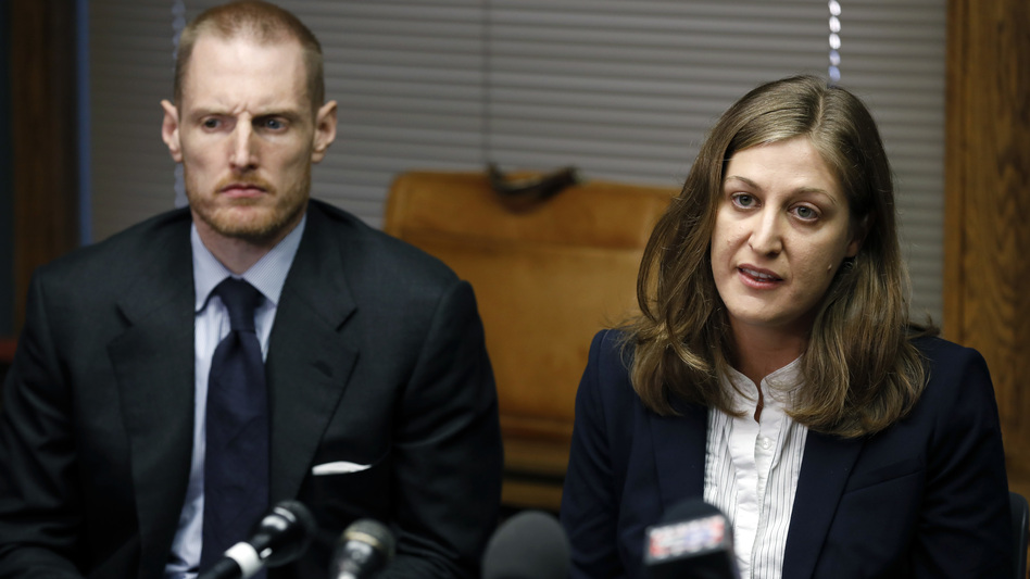 ACLU of Iowa legal director Rita Bettis, shown with Emma Goldman Clinic attorney Sam Jones, said a judge's decision to temporarily block Iowa's newly passed abortion law removes uncertainty as a legal challenge to the law proceeds. (Charlie Neibergall/AP)