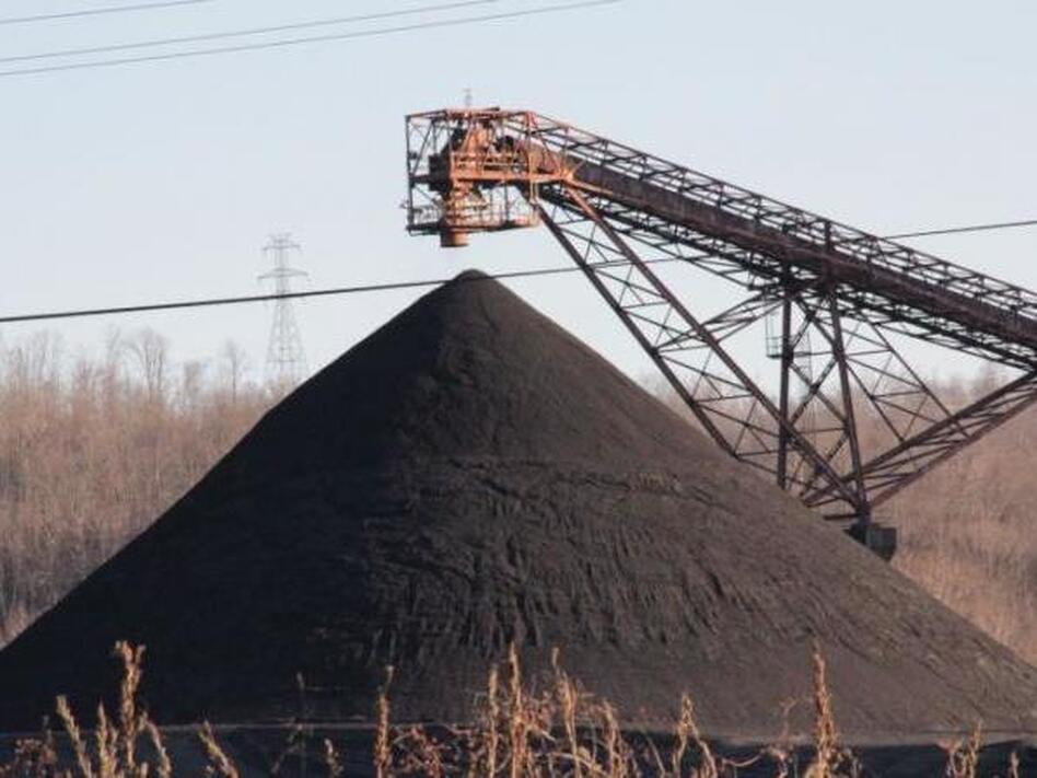 Coal stockpiled at a power plant. A draft plan circulating in Washington would require power grid operators to buy electricity from struggling coal plants over the next two years to prevent them from shutting down. (Reid Frazier/Allegheny Front)