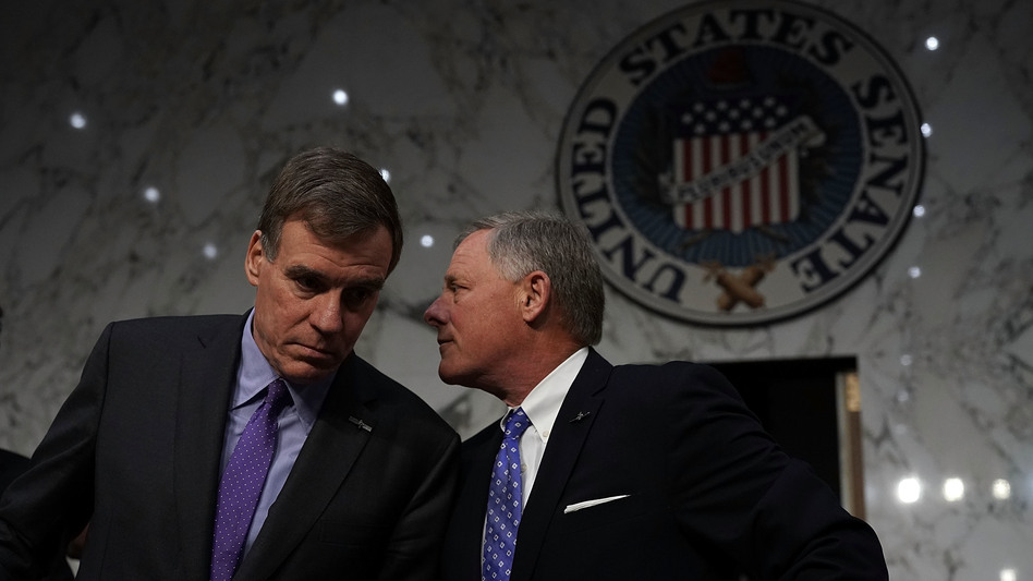 The Senate intelligence committee, led by Vice Chairman Mark Warner (left) and Chairman Sen. Richard Burr, appears to have arrived at a partisan deadlock over whether Donald Trump's campaign conspired with the Russian attack on the 2016 presidential election. (Alex Wong/Getty Images)