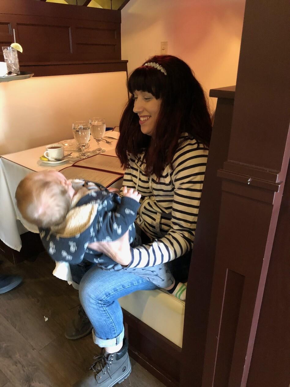 Jillian Broomstein plays with her son. (Rachel Gotbaum/NPR)