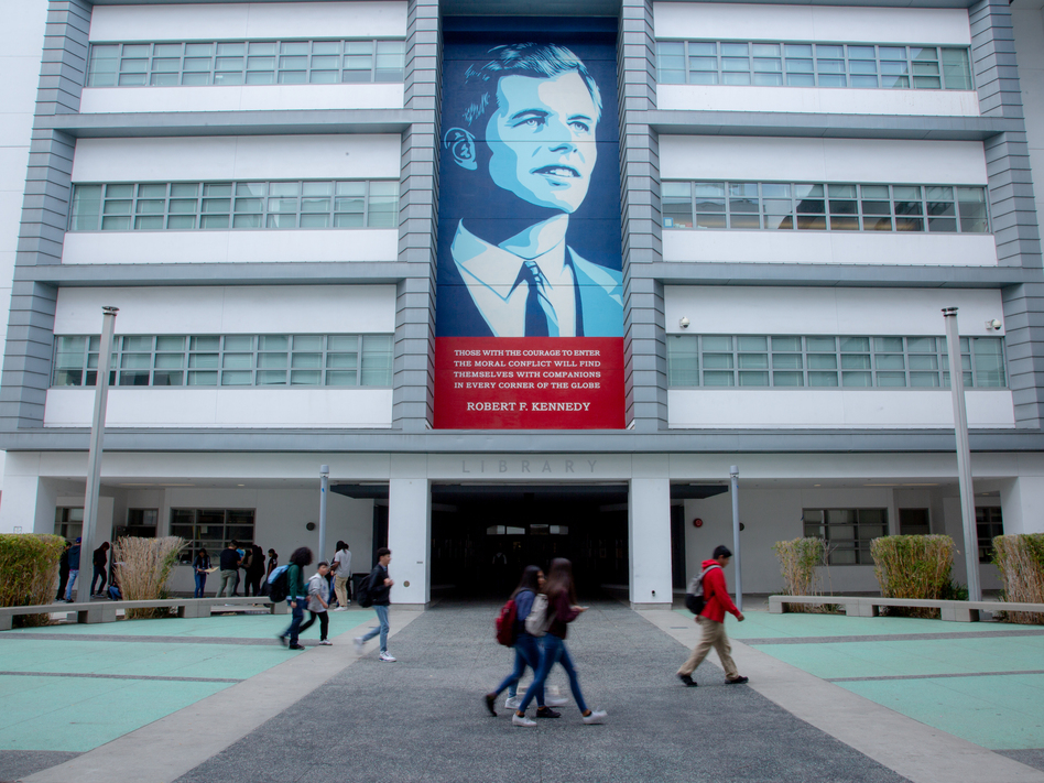 One of several murals of Robert Kennedy is displayed at the Robert F. Kennedy Community Schools in Los Angeles. (Kyle Grillot for NPR)