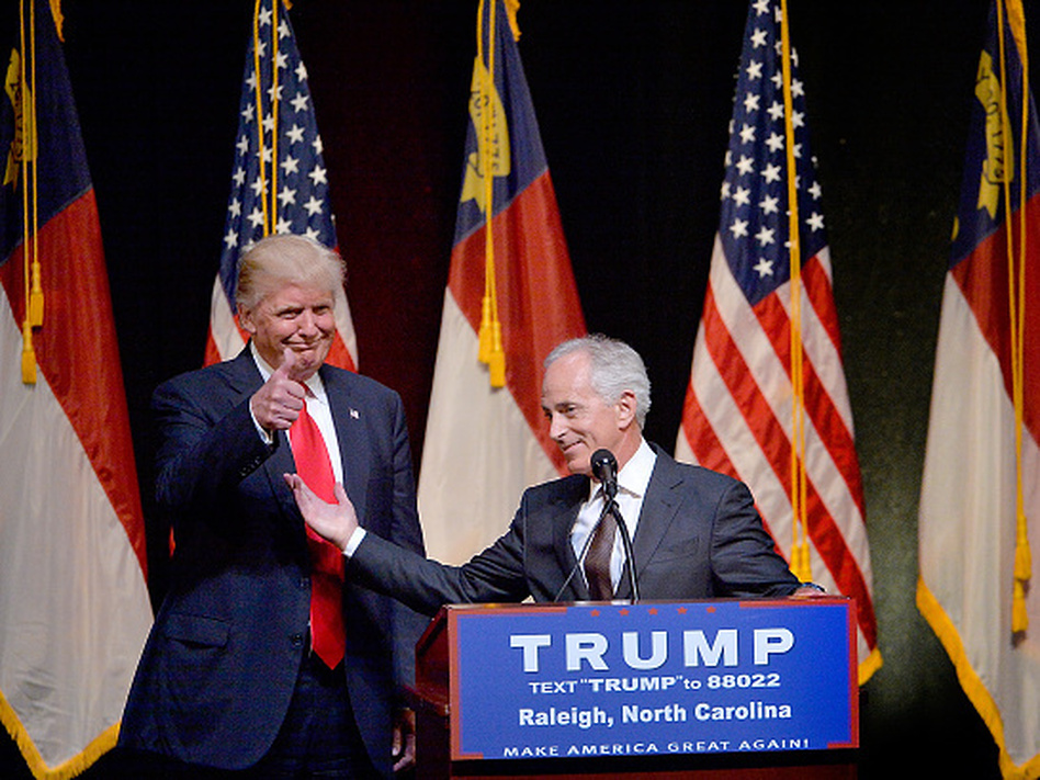 Then-presidential nominee Donald Trump stands next to Sen. Bob Corker, R-Tenn., during a campaign event at the Duke Energy Center for the Performing Arts in July 2016 in Raleigh, N.C. (Sara D. Davis/Getty Images)