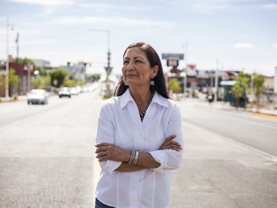 Deb Haaland poses for a portrait in a Nob Hill Neighborhood in Albuquerque, N.M., on June 5. (Juan Labreche/AP)
