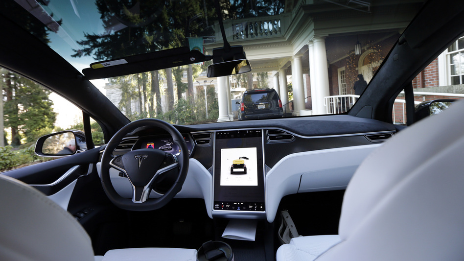The interior of a Tesla Model X 75D semi-autonomous electric vehicle is shown in January 2017. The company's autopilot system has been engaged at the time of a number of accidents, including a crash that killed the driver in California in March, but the company emphasizes the system can't be relied on to prevent collisions. (Ted S. Warren/AP)