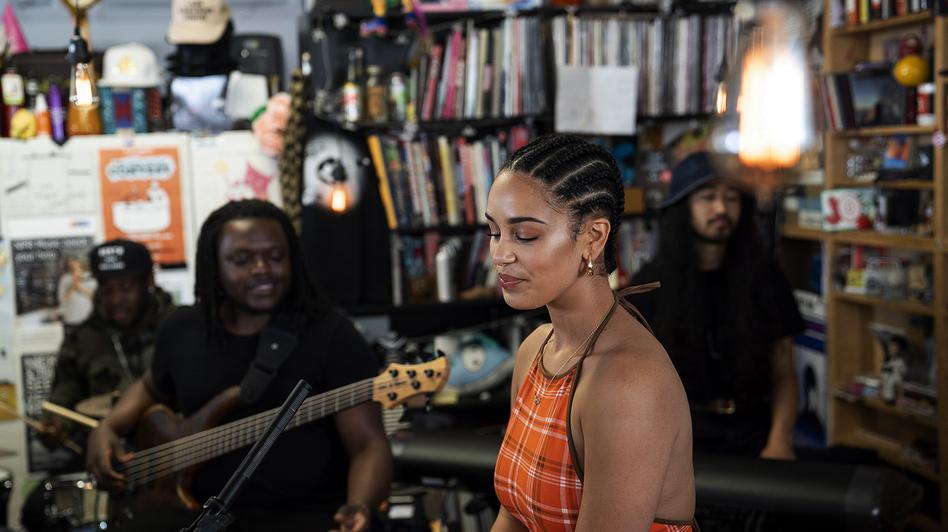 Jorja Smith performs a Tiny Desk Concert on May 14, 2018. (Eslah Attar/NPR)