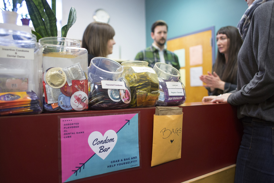 Staff members hold an informal meeting before opening the STD free clinic in February in Portland, Maine. The CDC recorded more than 2 million cases of chlamydia, gonorrhea and syphilis nationally in 2016 — the highest number of reported cases yet, officials say.