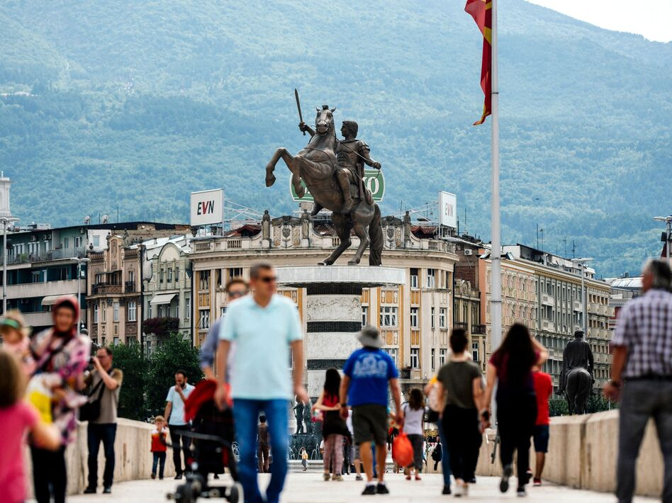 Macedonia will now be named Republic of North Macedonia after its prime minister reached an agreement with his Greek counterpart. A monument to Alexander the Great is seen in the center of Skopje on Sunday.