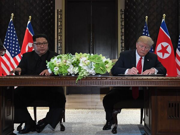 """""""I think he wants to get it done. I really feel that very strongly,"""" President Trump says of the pledge by North Korea's leader Kim Jong Un to end a decades-old nuclear stand-off."""
