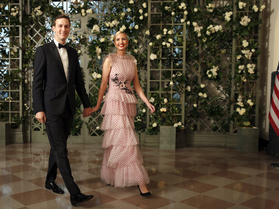Jared Kushner and Ivanka Trump, arriving for the state dinner in April, have held positions in more than 200 companies and organizations.