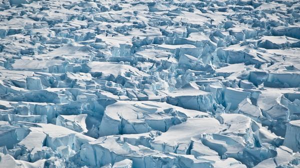 Crevasses near the grounding line of Pine Island Glacier, Antarctica.