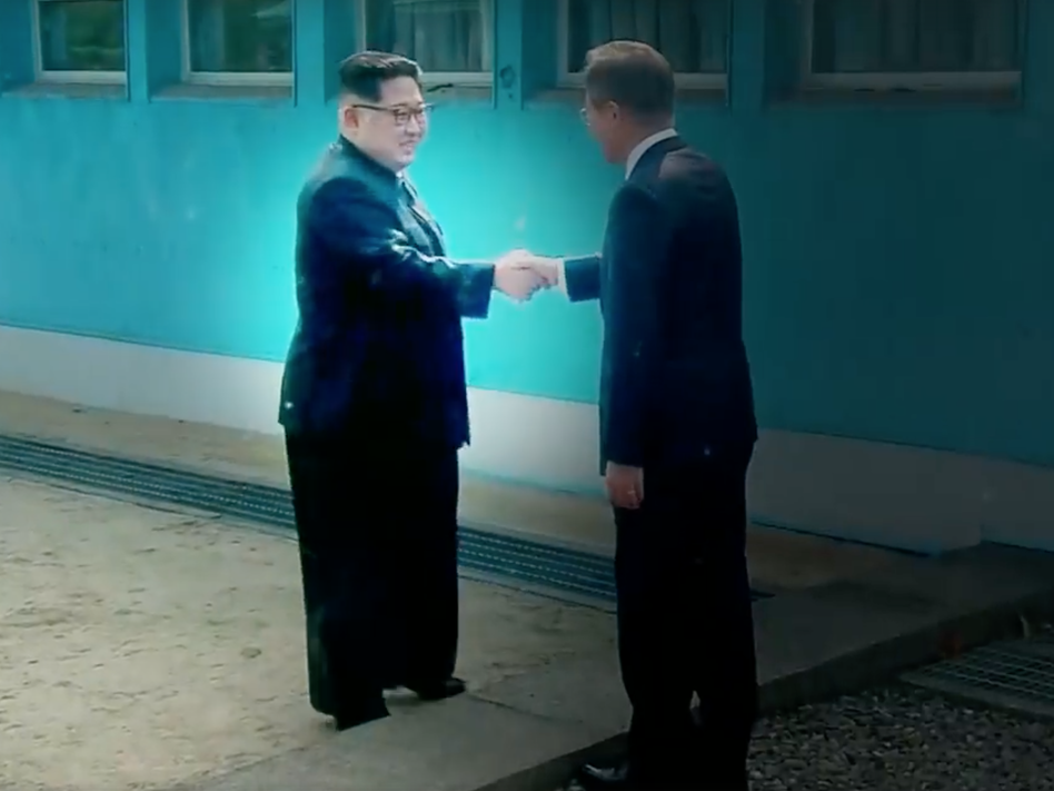 A screenshot of a video shared on White House social media accounts. The video — a fake movie trailer encouraging cooperation between President Trump and North Korean leader Kim Jong Un — was shown to Kim by Trump himself on an iPad toward the end of their summit in Singapore Tuesday.