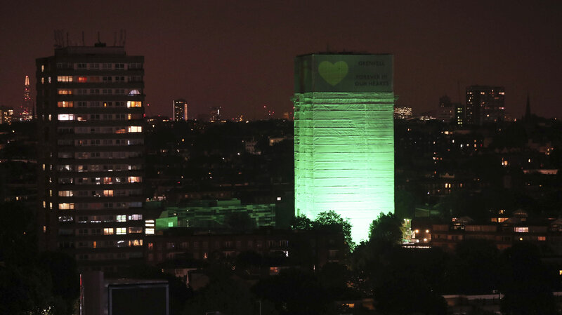 London Lights Grenfell Tower Green A Year After Deadly Fire