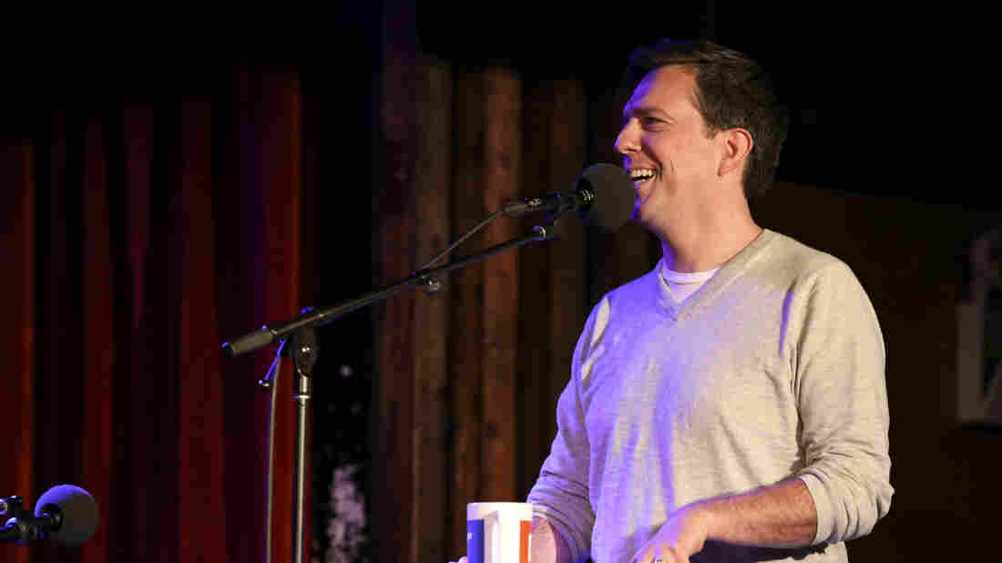 Actor Ed Helms appears on Ask Me Another at the Bell House in Brooklyn, New York.