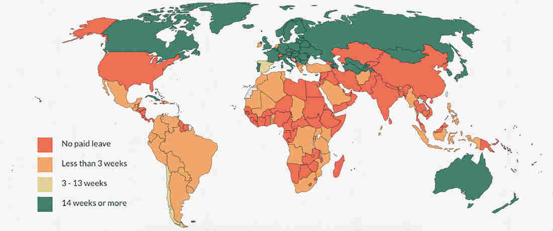 World map of paid paternity leave.