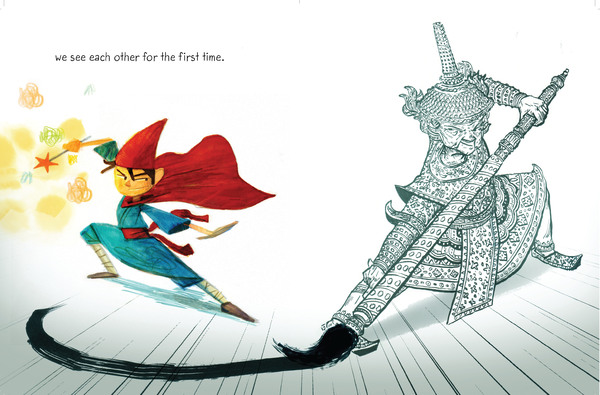"""In Drawn Together a boy and his grandfather paint themselves as heroes. """"I wanted to have a book that was both emotionally resonant but also exciting for kids,"""" says author Minh Lê. (A """"very ferocious"""" dragon appears a few pages later.)"""