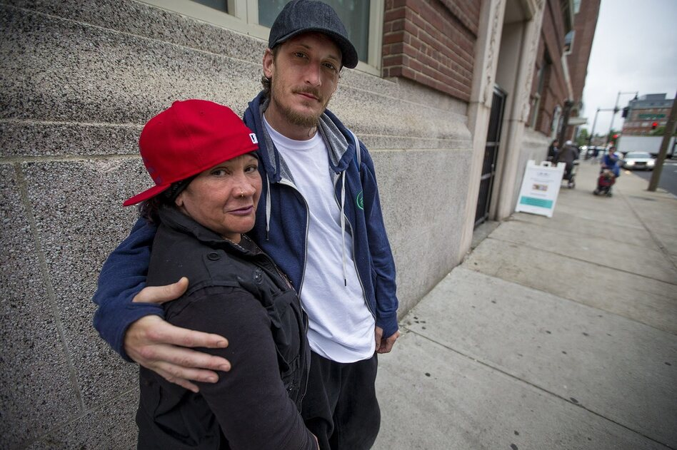 Yvette and Scott, both recovering heroin users, now take methadone daily from a clinic in the Southend of Boston. (Jesse Costa/WBUR)