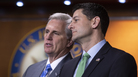 House Majority Leader Kevin McCarthy, R-Calif., and Speaker of the House Paul Ryan, R-Wis., confer during a news conference following a closed-door GOP meeting on immigration last week.