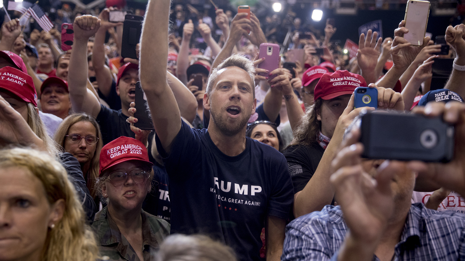 President Trump's supporters cheer as he speaks at a rally in Nashville, Tenn., in May. While Democrats are fired up for these midterms, so are his voters. (Andrew Harnik/AP)