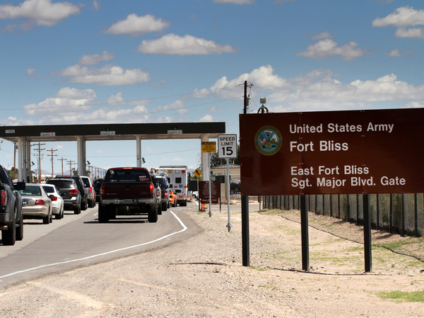 Cars wait to enter Fort Bliss in El Paso, Texas, in 2014. The U.S. Army Base is one of four that likely will be tasked with housing immigrant children following a request Thursday by the Department of Health and Human Services.