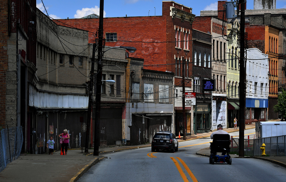 Shuttered businesses and abandoned buildings are a common sight in the southwestern Pennsylvania town of Brownsville. Pennsylvania is one of 26 states with an increasing mortality rate among whites. (Michael S. Williamson/The Washington Post/Getty Images)