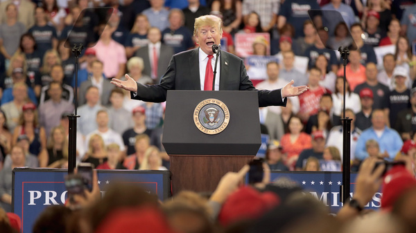 President Trump speaks to supporters during a campaign rally at the Amsoil Arena on Wednesday in Duluth, Minn.