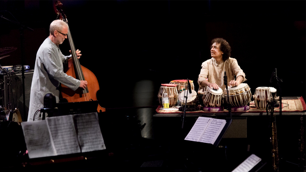 Bassist Dave Holland and tabla player Zakir Hussain perform as part of Crosscurrents at Jazz at Lincoln Center in New York City.