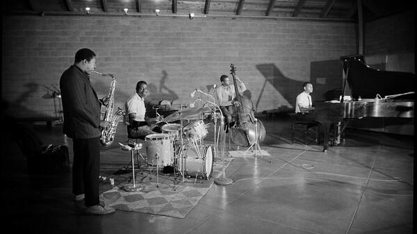 John Coltrane and his band recording at Van Gelder Studios in 1963.