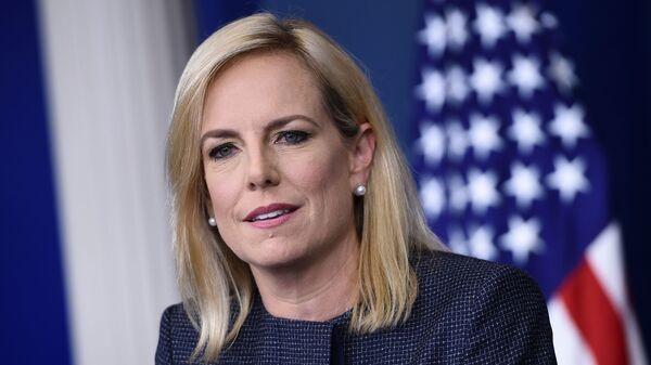 Homeland Security Secretary Kirstjen Nielsen, pictured above at the White House daily briefing on Monday, was heckled inside a Mexican restaurant.
