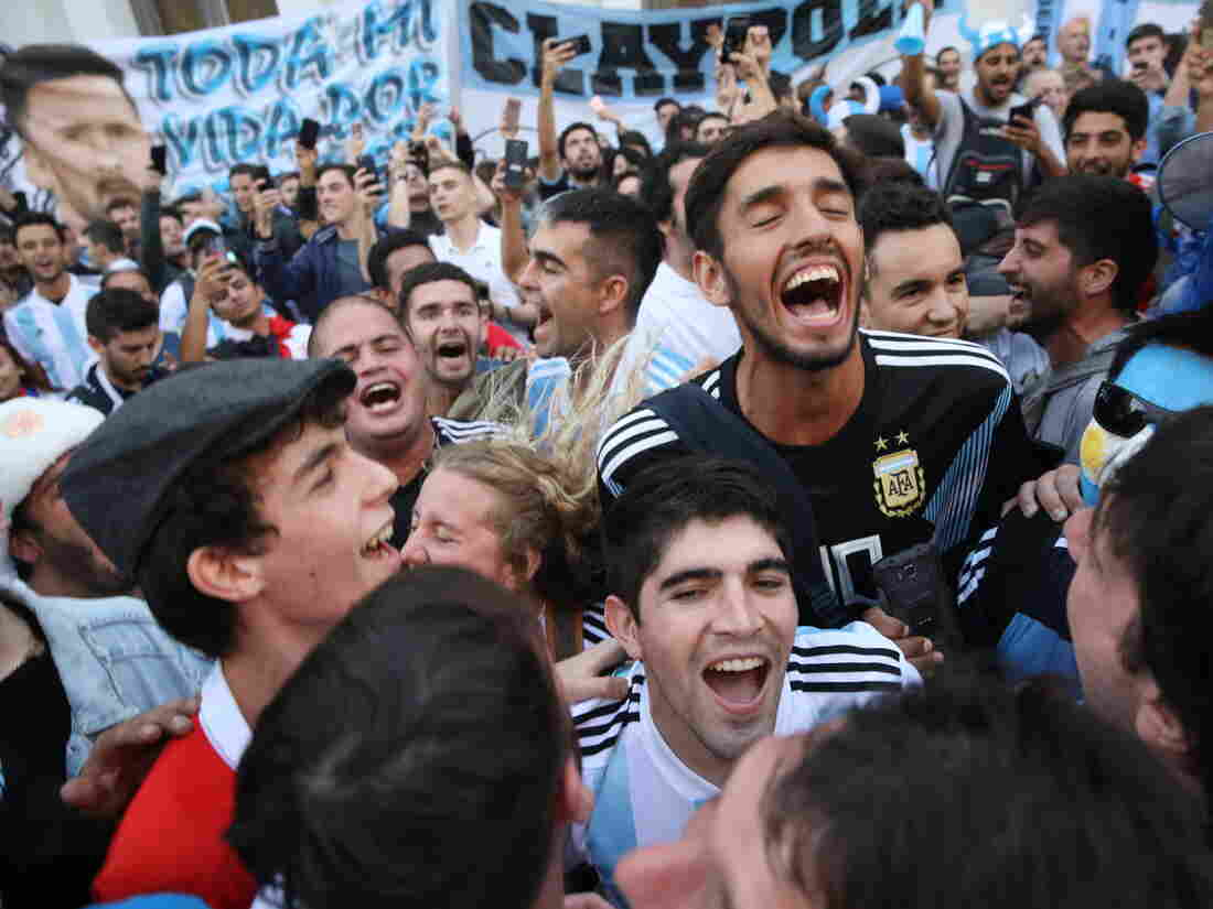 Argentina fans gather in the streets of central Moscow on Wednesday ahead of the 2018 FIFA World Cup.