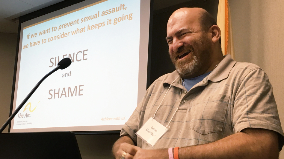 James Meadours delivers the keynote address at a summit in New Jersey to propose reforms to prevent sexual abuse of people with intellectual disabilities. Meadours, a rape survivor with an intellectual disability, travels the country to raise awareness. (Joseph Shapiro/NPR)