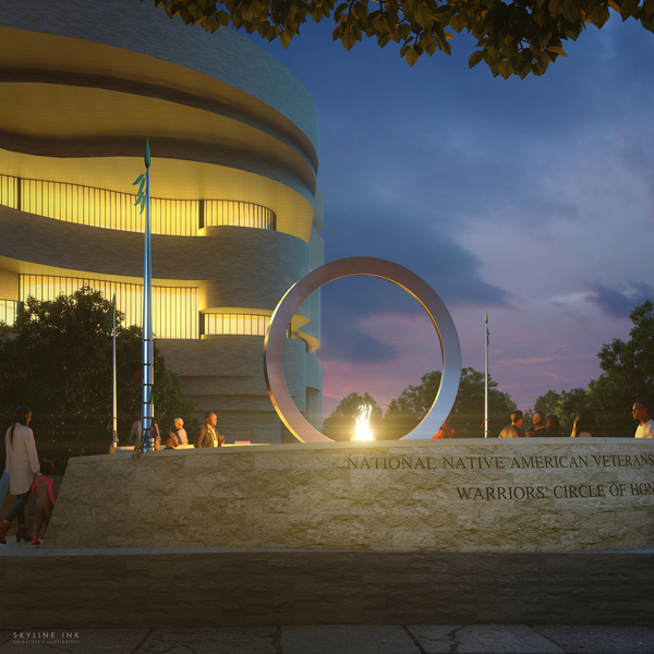 The multimedia artist Harvey Pratt's Warriors' Circle of Honor will incorporate an enormous, upright stainless steel circle.