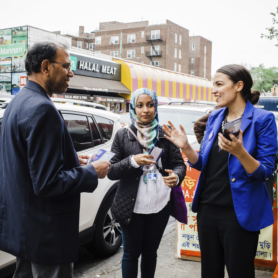 A May 2016 photo provided by the Alexandria Ocasio-Cortez campaign shows the candidate during a Bengali community outreach event in New York. (Corey Torpie/AP)