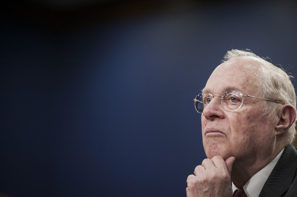 Justice Anthony Kennedy, seen here during congressional testimony in 2015, has played a pivotal role on the Supreme Court since he was sworn in 30 years ago. (Pete Marovich/Bloomberg via Getty Images)