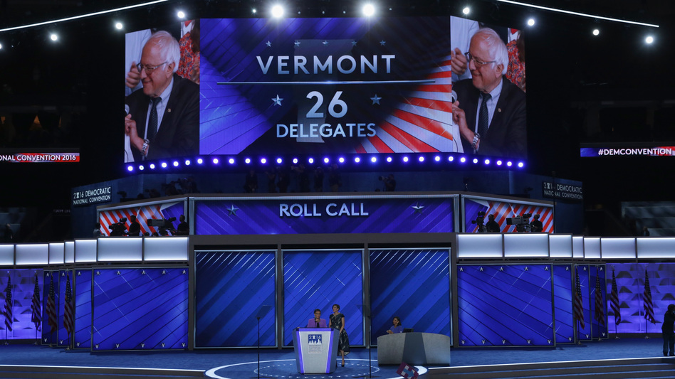 Sen. Bernie Sanders is seen after the Vermont delegation cast their votes during roll call at the 2016 Democratic National Convention in Philadelphia. After the bitter primary between Sanders and Hillary Clinton, the DNC set up a process that has led to reducing the role of party leaders in selecting the presidential nominee. (Alex Wong/Getty Images)