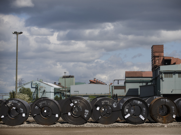 Steel coils lay in a yard at the ArcelorMittal Dofasco steel plant in Hamilton, Canada. President Trump recently announced tariffs on Canadian steel and aluminum imports.